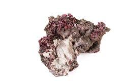 Камень Erythrite макроса минеральное на белой предпосылке стоковые изображения