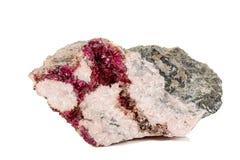 Камень Erythrite макроса минеральное на белой предпосылке стоковая фотография