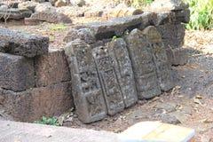 Камень Sati показывая мученичество ратника Стоковая Фотография