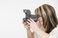 Камера используемая женщиной быстрая Стоковые Изображения