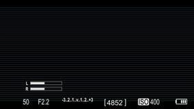 Камера канона на верхних слоях экранного дисплея с scanlines сток-видео