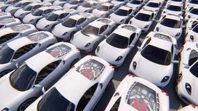 Камера летает над строками белых автомобилей спорт в солнечной погоде Реалистический безшовной анимации петли иллюстрация штока