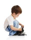 камера мальчика Стоковые Фотографии RF