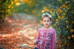 камера мальчика смотря напольный портрет Стоковая Фотография RF