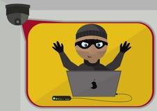 Камера слежения записала проникание преступника вектор Стоковые Изображения RF
