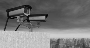 Камера слежения над городом Стоковые Изображения