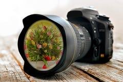 Камера с цветками в объективе стоковая фотография