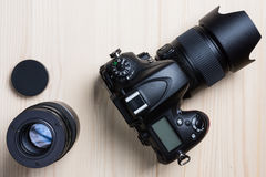 Камера фото и взгляд сверху объектива Стоковые Фотографии RF