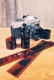 Камера фото witn Flatlay старая стоковые изображения