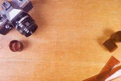Камера фото witn Flatlay старая стоковые фото