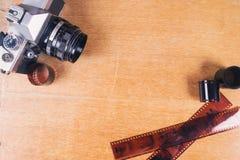 Камера фото witn Flatlay старая стоковое изображение rf