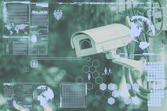 Камера CCTV или технология наблюдения на экране Стоковые Изображения RF