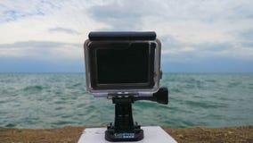 Камера Gopro смотря озеро Мичиган Стоковое Изображение RF
