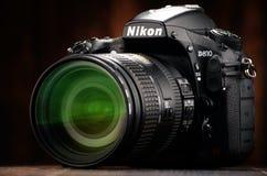 Камера Nikon D810 с сигналом nikkor Стоковые Фото