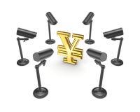 Камеры замечания вокруг символа иен. Стоковые Изображения