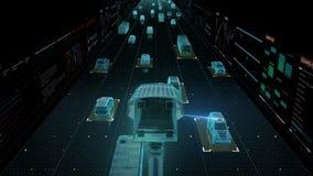 Камеры слежения контроля над трафиком Технология IOT торгуйте камерами CCTV установил основу на высоком пути, дорогу Город Интерн иллюстрация вектора