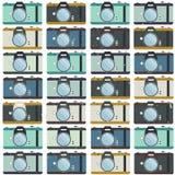 Камеры фото, красочная безшовная картина иллюстрация вектора
