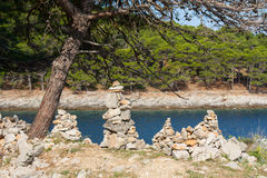 Камешки Дзэн берега моря Стоковые Изображения RF