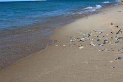 Камешки на пляже на Lake Michigan Стоковые Изображения