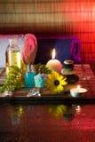 Камелии, масло, камни, фикус, губка, соль и ca Стоковая Фотография RF