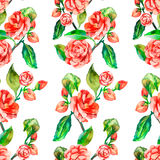 Камелия, подняла, безшовный цветочный узор Стоковые Изображения RF