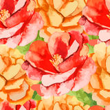 камелия Поднял картина цветков безшовная Стоковые Фотографии RF