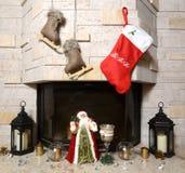 Камин на рождестве стоковая фотография