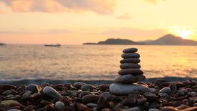 Камни баланса на пляже одевает поле одуванчика цветя детеныши белой женщины longhaired мира разума ослабляя Жизнь уравновешения C видеоматериал