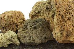 Камни вулкана на отработанной формовочной смеси Стоковое фото RF