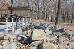 Камни в парке в предыдущей весне стоковое изображение rf