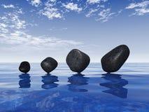 Камни Дзэн на голубом море Стоковая Фотография