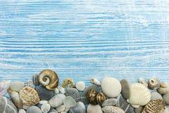 Камни моря, раковины, морские звёзды на выдержанных голубых деревянных досках Стоковое Изображение RF