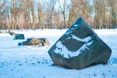 Камни покрытые с снегом Стоковое Фото