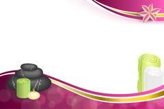 Камни терапией салона курорта предпосылки абстрактные розовые бежевые миражируют иллюстрацию рамки ленты золота лилии полотенца Стоковая Фотография RF