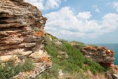 Камни headland Kaliakra, побережья Чёрного моря стоковое изображение rf