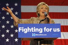 Кампании Хиллари Клинтон для президентства на коллеже Лос Анджеле SW Стоковое Изображение RF