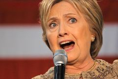 Кампании Хиллари Клинтон для президентства на коллеже Лос Анджеле SW Стоковая Фотография RF