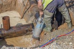 Канава стока водяной помпы погружающийся Стоковая Фотография RF