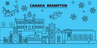 Канада, горизонт зимних отдыхов Brampton С Рождеством Христовым, счастливый Новый Год украсил знамя с Санта Клаусом Канада иллюстрация штока