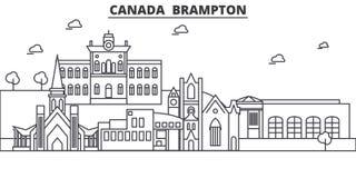 Канада, линия иллюстрация архитектуры Brampton горизонта Линейный городской пейзаж с известными ориентир ориентирами, визирования иллюстрация штока