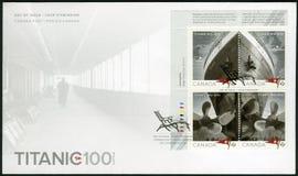 КАНАДА - 2012: показывает титаническую, белую линию звезды, титаническое столетие 1912-2012 стоковое фото