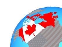 Канада с флагом на глобусе иллюстрация вектора