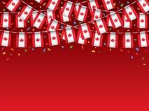 Канадец сигнализирует предпосылку гирлянды красную с confetti бесплатная иллюстрация