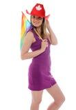 Канадская девушка страны с флагом гордости Стоковая Фотография RF