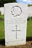 Канадская могила войны от мировой войны одного Стоковое Изображение