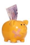 Канадские доллары в вырезе piggy банка Стоковое фото RF