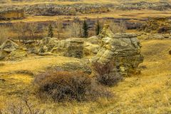 Канадские неплодородные почвы, писать на каменном захолустном парке, Альберта, Канада стоковое изображение