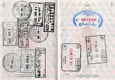 канадские штемпеля пасспорта Стоковые Изображения