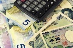 канадский японец валюты Стоковые Фотографии RF