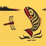 Канадское родное северо-западное искусство, рыба вектора Стоковое Фото